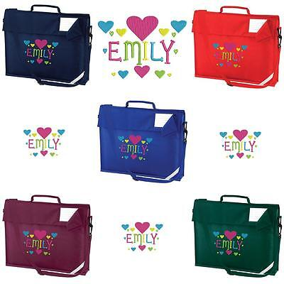 PERSONALISED EMBROIDERED BOOK BAG & STRAP WITH HEARTS FONT & NAME SCHOOL - music