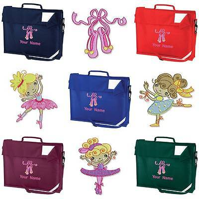 Personalised Embroidered Book Bag & Strap With Ballet Cutie Image School Bc