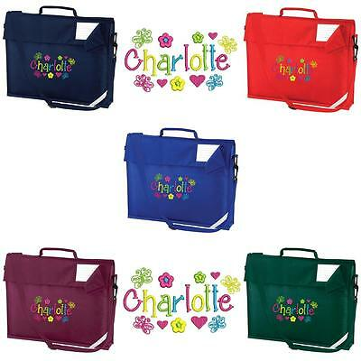 Personalised Embroidered Book Bag & Strap With Butterfly Font & Name School