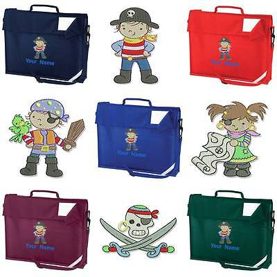 PERSONALISED EMBROIDERED BOOK BAG & STRAP WITH PIRATE DESIGN & NAME SCHOOL pir