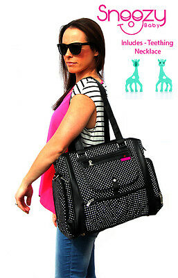 Large Snoozy Baby Diaper Black Baby Nappy Bag PLUS silicone teether Giraffe