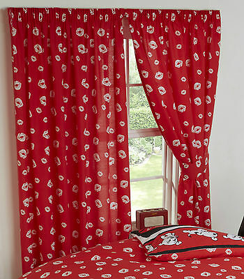 "BETTY BOOP 66"" x 72"" UNLINED CURTAINS RED LIPS WHITE KISSING GIRLS TIE BACKS"
