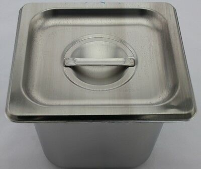 Stainless Steel Bain Marie Tray & Lid, 1/6 Size 150mm