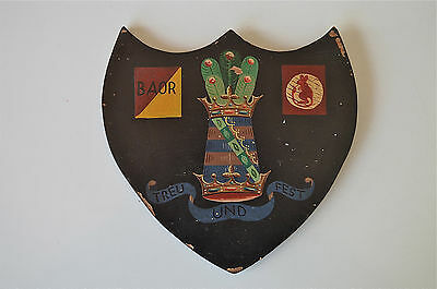Antique armorial shield plaque 11th Hussars British army of the Rhine