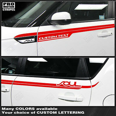 For KIA SOUL 2008-2016 Side Upper Accent Sport Stripes Decals (Choose Color)