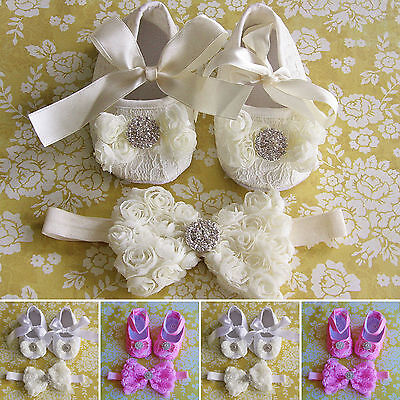 Baby Girl White Ivory Shoes Headband Set Christening Wedding Pram Prewalkers