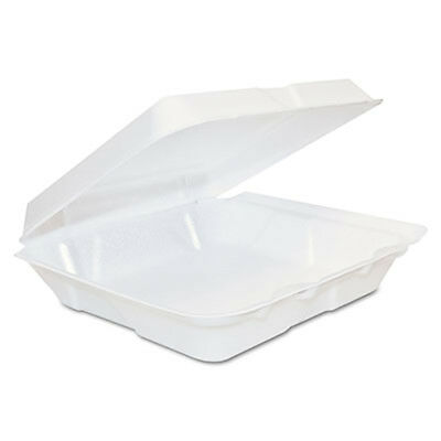 """200 Dart One Compartment Foam Hinged Food Container 8"""" x 7.5"""" x 2.25"""" 80HT1"""