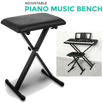 Livivo Black Pro X Frame Seat Bench Stool Chair Adjustable Height Piano Keyboard