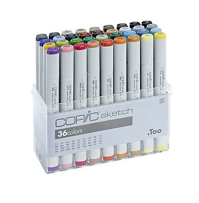 Copic Sketch Marker - 36 Basic Colours Set - Refillable With Copic Various Inks