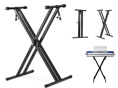 Livivo Black Folding Double X Frame Adjustable Keyboard Stand W/ Straps Music