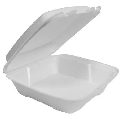 """200 Large One Compartment Foam Hinged Lid Containers, 9.375"""" x 9"""" x 3"""""""