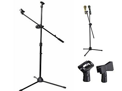 Black Professional Microphone Adjustable Stand Holder Tripod Boom W/ 2 Mic Clips