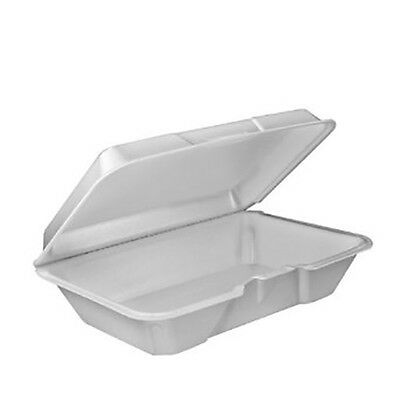 200 Dart Takeout Foam Clamshell Hinged Food Containers - 205HT1