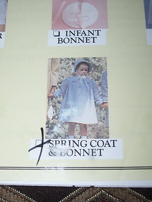 Creative Needle - Girls Knee Length Spring Coat & Tied Bonnet Pattern  3-6  Ff
