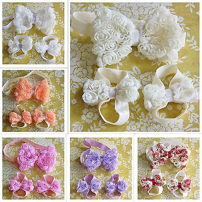 Baby Barefoot Sandals Headband Set Christening Wedding Rose Lace Flower Handmade