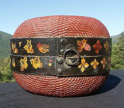 Antique Chinese Wedding Dumpling Basket Red w/ Pomegranates Butterflies