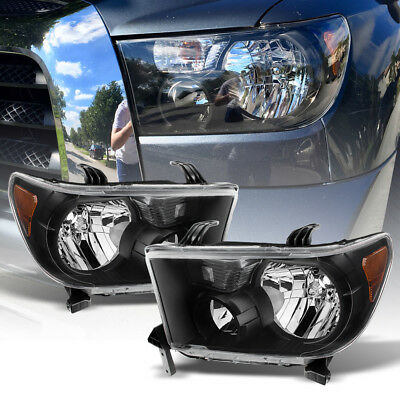 For 2007-2013 Toyota Tundra 2008-2017 Sequoia Black Headlights lamps Left+Right