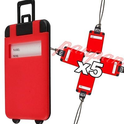 5pcs RED Travel Luggage Tags Baggage Suitcase Bag Labels Name Address