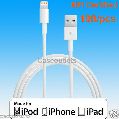 10ft Apple Certified MFI Lightning USB Sync Charger Cable f iPhone X 8 7 6S Plus
