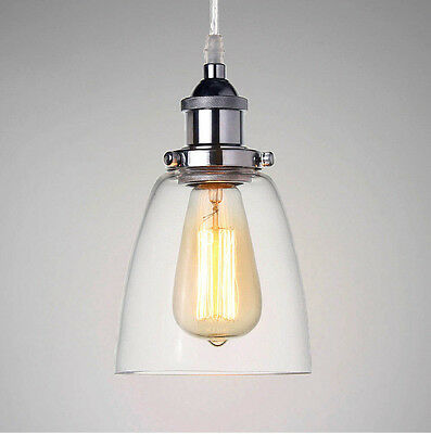 Modern Chrome Glass Fitting Shade Vintage Industrial Ceiling Lamp Pendant Light