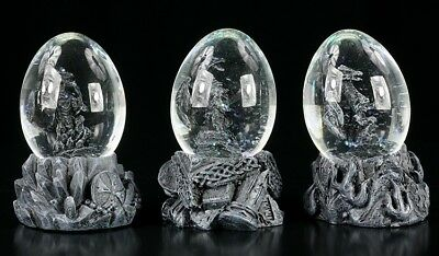 Drachen in Eiern - Schneekugel 3er Set - Deko Figuren Dragon Egg Statue