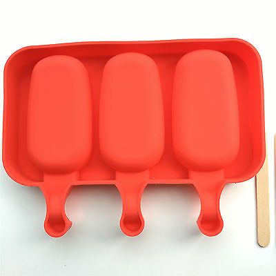 Ice Pop Mold Ellipse Shape Popsicle Safety Silicone 3 Cavity with Wood Sticks