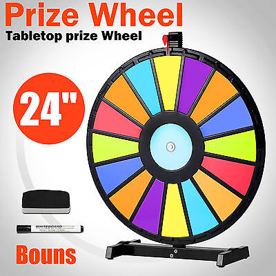 "24"" Multi Color Editable Tabletop Prize Wheel Fortune Spinning Game Carnival"