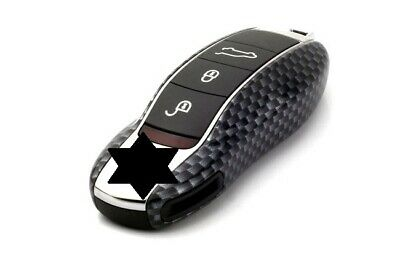 Porsche Key Cover Case Skin Shell Cap Fob Protection Bag Hull Gloss Carbon look