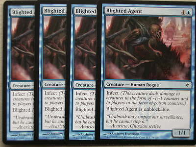 XXX 4x BLIGHTED AGENT englisch new phyrexia (human rogue infect blue) NEARMINT