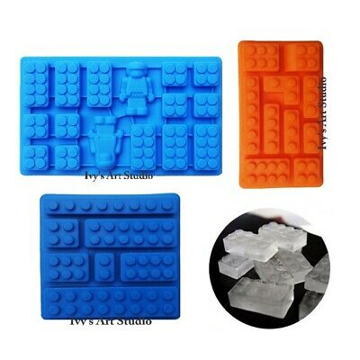 Set of 3 Multi Lego-like Brick Ice Tray & Minifigure Man Silicone Molds Moulds