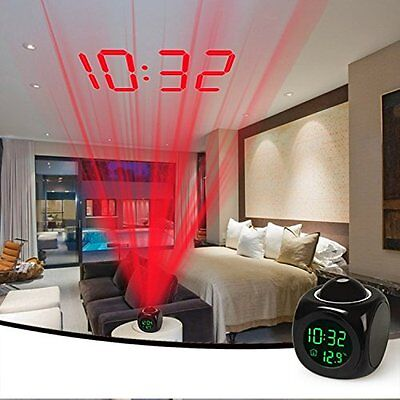 iMounTEK Alarm Clock LED Wall/Ceiling Projection LCD Digital Voice Talking With