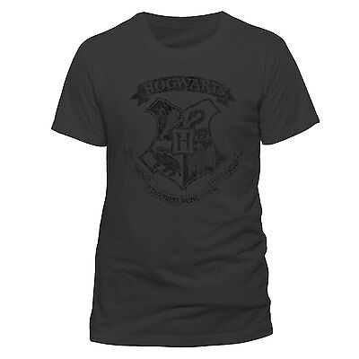 HARRY POTTER HOGWARTS DISTRESSED CREST Grey Official Unisex T-Shirt - Wizard