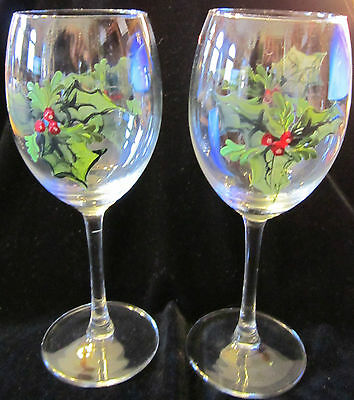 79bfd3cf421 Hand Painted White Wine Glasses w  Red Poinsettia s Feature Set of 2
