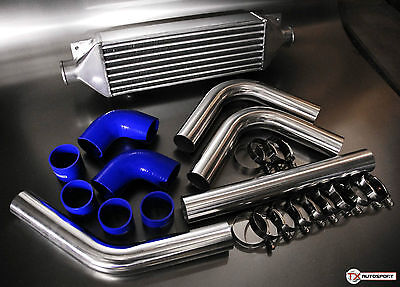 "2.5"" 63mm Universal Intercooler Pipe Kit + High Flow Intercooler Package - Blue"