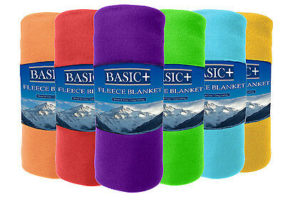 Fleece Throw Blankets 50 x 60 Wholesale Lot of 24, Assorted Solid Colors