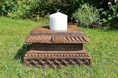 Large antique hand carved wooden column top candle stand solid teakwood MM9