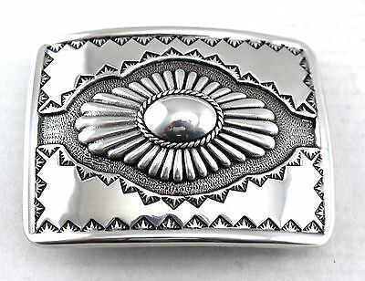 Southwestern Western Silver Tooled And Engraved Concho Cowboy Belt Buckle New