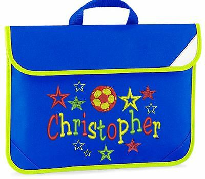 Personalised Embroidered Kids book bag for school- FOOTBALL & STARS design.