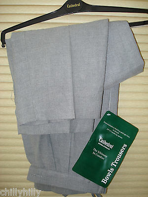Ladies Bowling Trousers Cathedral Bowlswear Light Grey Size 10-12 BNWT