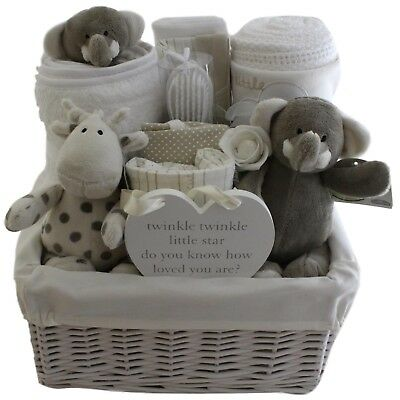 Beautiful baby gift basket/hamper unisex neutral baby shower nappy cake unique