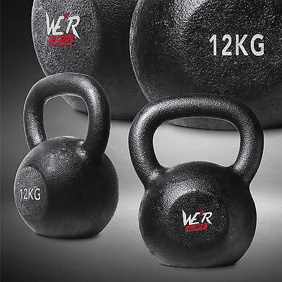 12KG Cast Iron Kettlebell Gym Fitness & Exercise Strength Condition Training