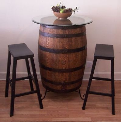"""Whiskey Barrel Table c/30"""" Glass Top-Wrought Iron Stand-(2) 29"""" Bar Stools"""