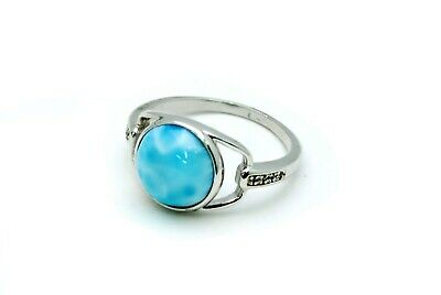 Larimar Beautiful 10mm 3.5ct Natural Solid .925 Sterling Silver Ring Size 6