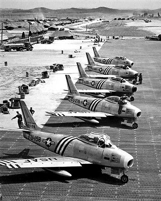 New 11x14 Korean War - Conflict Photo: F-86 Airplanes Readied for Combat, 1951