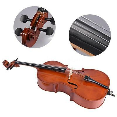 4/4 Full Size Cello Gloss Finish Basswood Face Board +Bow Rosin Bag N8T4