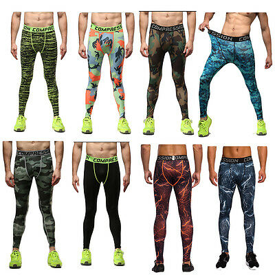 Mens Sport Leggings Compression Tights Thermal Base Layer Fintess Pant S-3XL