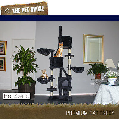 NEW Lexington Grey luxury Cat Tree Scratching Post Pole Furniture House 220cm