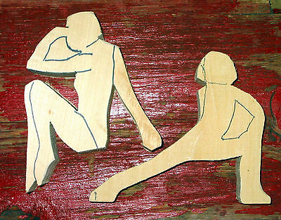 2 Woman Wood Carving Blanks, Figures Cutout Swimmer, Athletic w/Pattern Carve