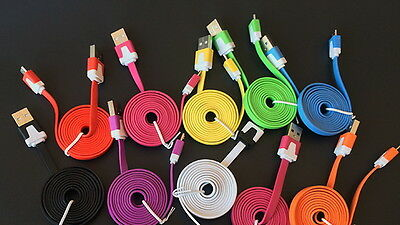40x lot 3 ft Flat Noodle 8 pin USB Data Charging Cable for iPhone 5 6 6S iPad5