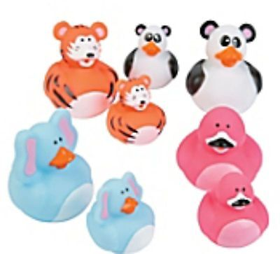 Mother and Baby Rubber Ducks -  1 Mother and 4 Babies -  Tiger Design